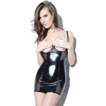 Coquette Darque Open Cup Wet Look Chemise