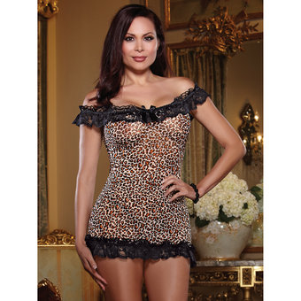 Dreamgirl Plus Size Sheer Leopard Print Chemise