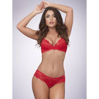 Lovehoney Flirty Underwired Plunge Bra Red