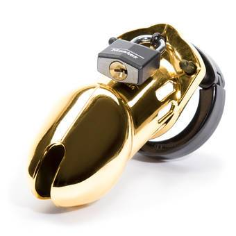 CB-6000 Designer Gold Finish Male Chastity Cage Kit