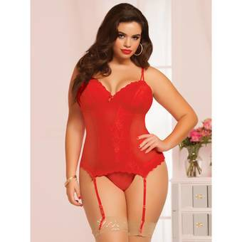 Seven til Midnight Plus Size Burning Flame Underwired Bustier Set