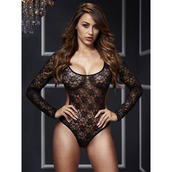 Baci Open Back Crotchless Long Sleeve Lace Body