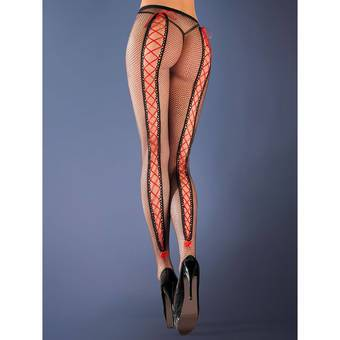 Gabriella Erotica Fishnet Tights with Ribbon Lacing