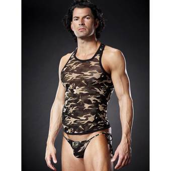 Blue Line Racerback Sheer Camo Vest Top