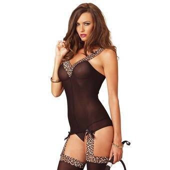 Leg Avenue Reversible Opaque Suspender Bodystocking  With Leopard Trim