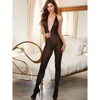 Dreamgirl Opaque Halter Neck Catsuit with Full Zip Crotch