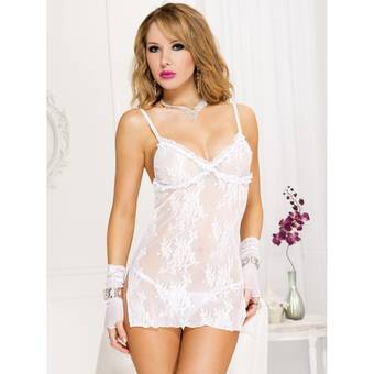 Music Legs Side Slit Lace Chemise and G-String Set
