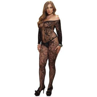 Leg Avenue Plus Size Crotchless Spiral Lace Off The Shoulder Bodystocking
