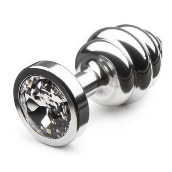 Diogol Aluminium Small Swirly Butt Plug with Swarovski Crystal
