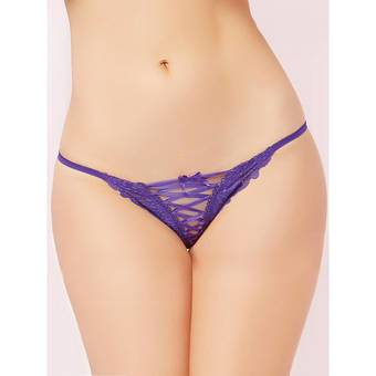 Seven 'till Midnight Purple Lace Up G-String