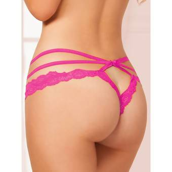 Seven 'til Midnight Crotchless Pink Lace and Mesh Cage Brief