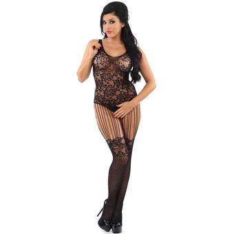 Classified Crotchless Floral Lace String Suspender Bodystocking
