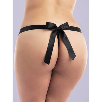 Lovehoney Plus Size Unwrap Me Women's Black Thong