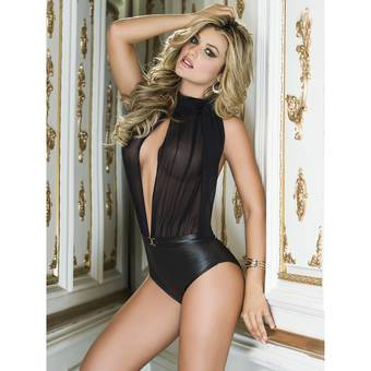 Mapale Wet Look and Sheer Mesh Deep Plunge Halter Teddy
