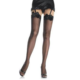 Leg Avenue Black Sheer Suspender Stockings With Bows