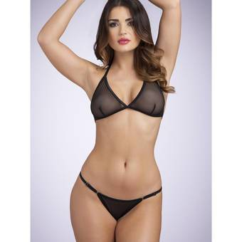 Lovehoney Sheer Triangle Bra & Crotchless G-String Set