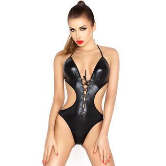 Passion Wet Look Cutaway Lace Up Body