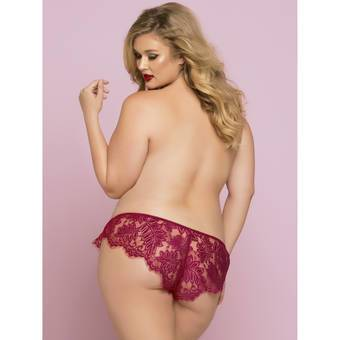 Seven 'til Midnight Plus Size Wine Lace French Knicker