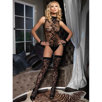 Leg Avenue 2 Piece Jacquard Body and Stockings Set