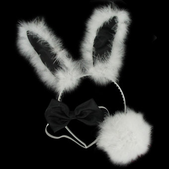 Bunny Girl Costume Set with Bendable Fluffy Ears