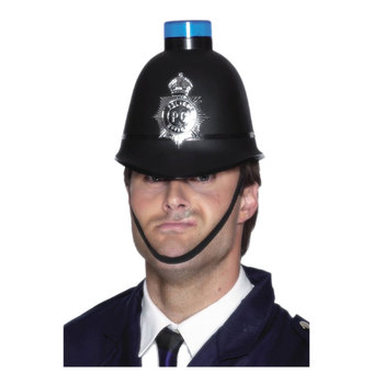 Police Helmet with Flashing Blue Light