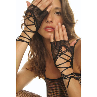 Music Legs Fishnet Fingerless Gloves