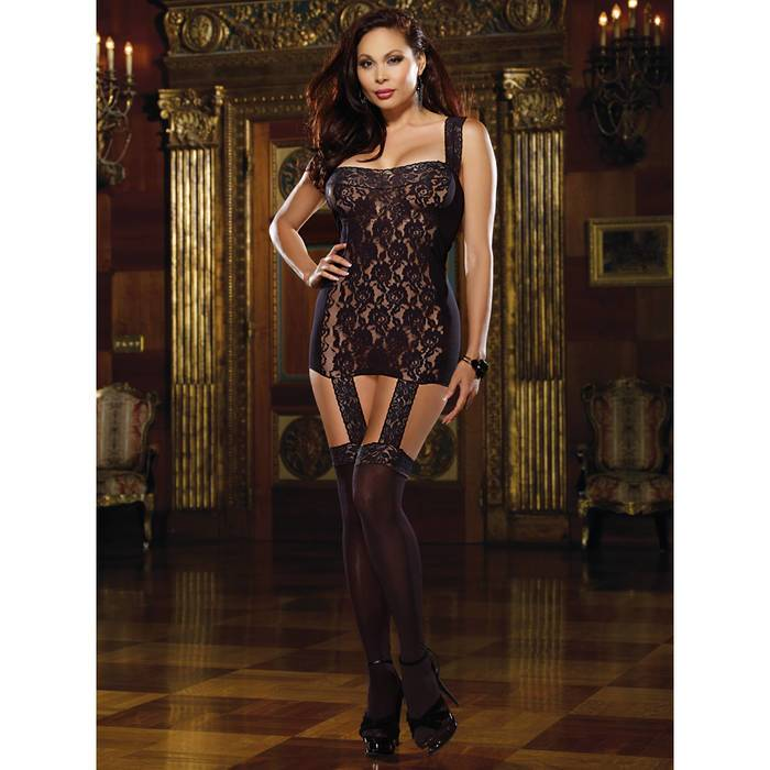 HD wallpapers dreamgirl plus size sheer lace all in one garter dress and stockings