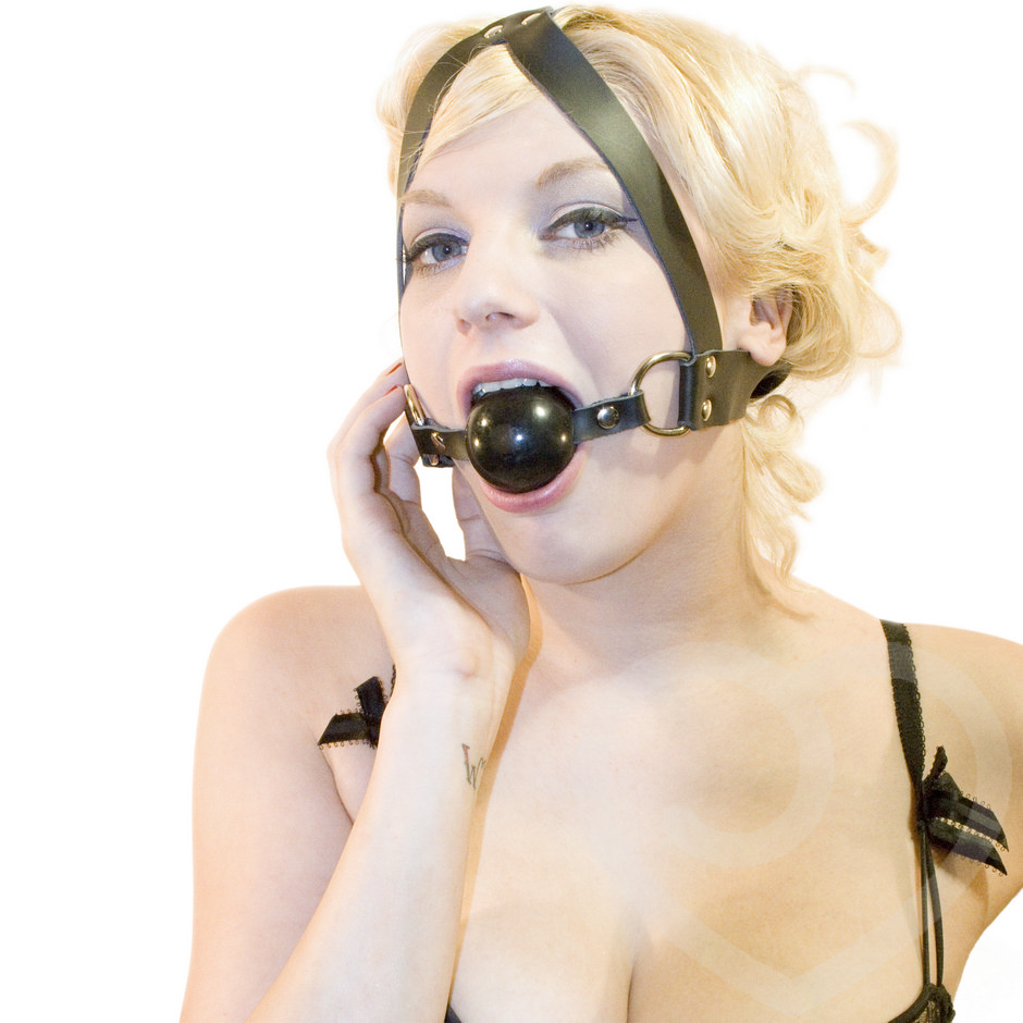 Bondage Boutique Extreme Leather and Rubber Face Harness Ball Gag