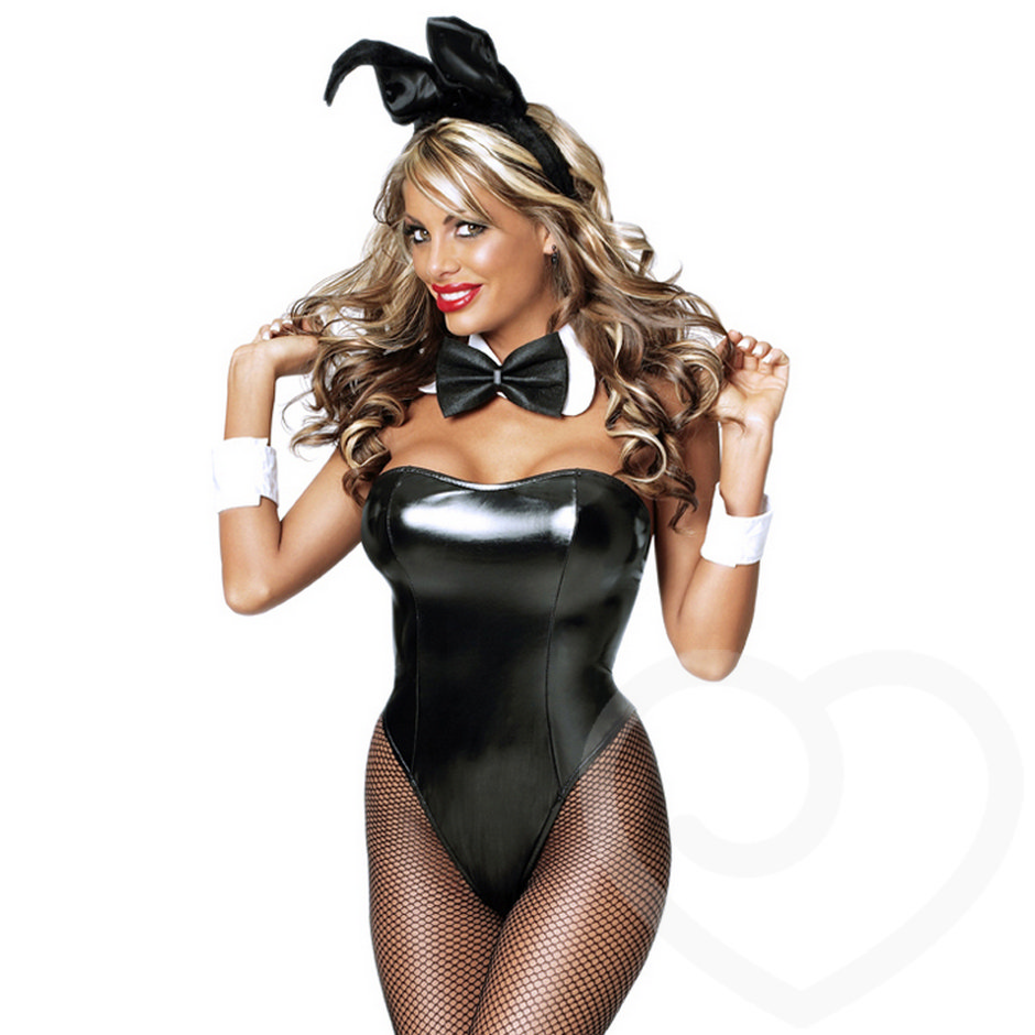 Exposed Cheap Thrills Wet Look Club Bunny Girl Costume