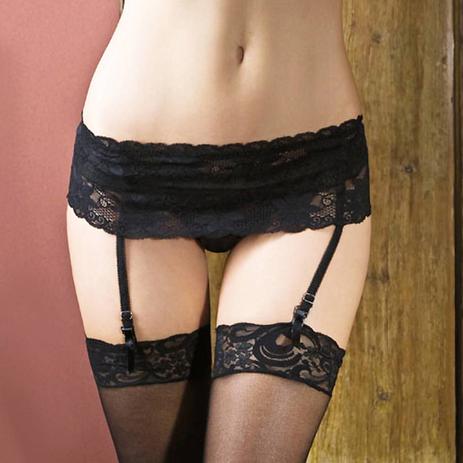 iCollection Lace Garter Belt with Adjustable Back Strap