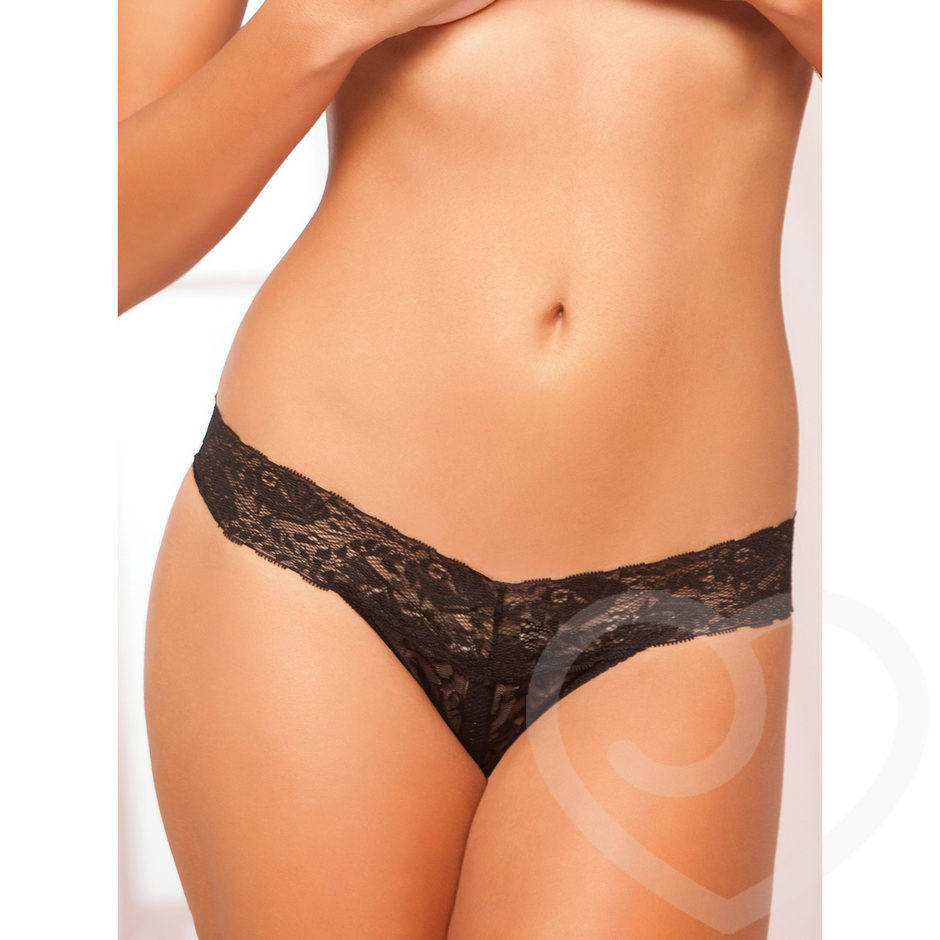 Seven Til Midnight Lace Crotchless Thong