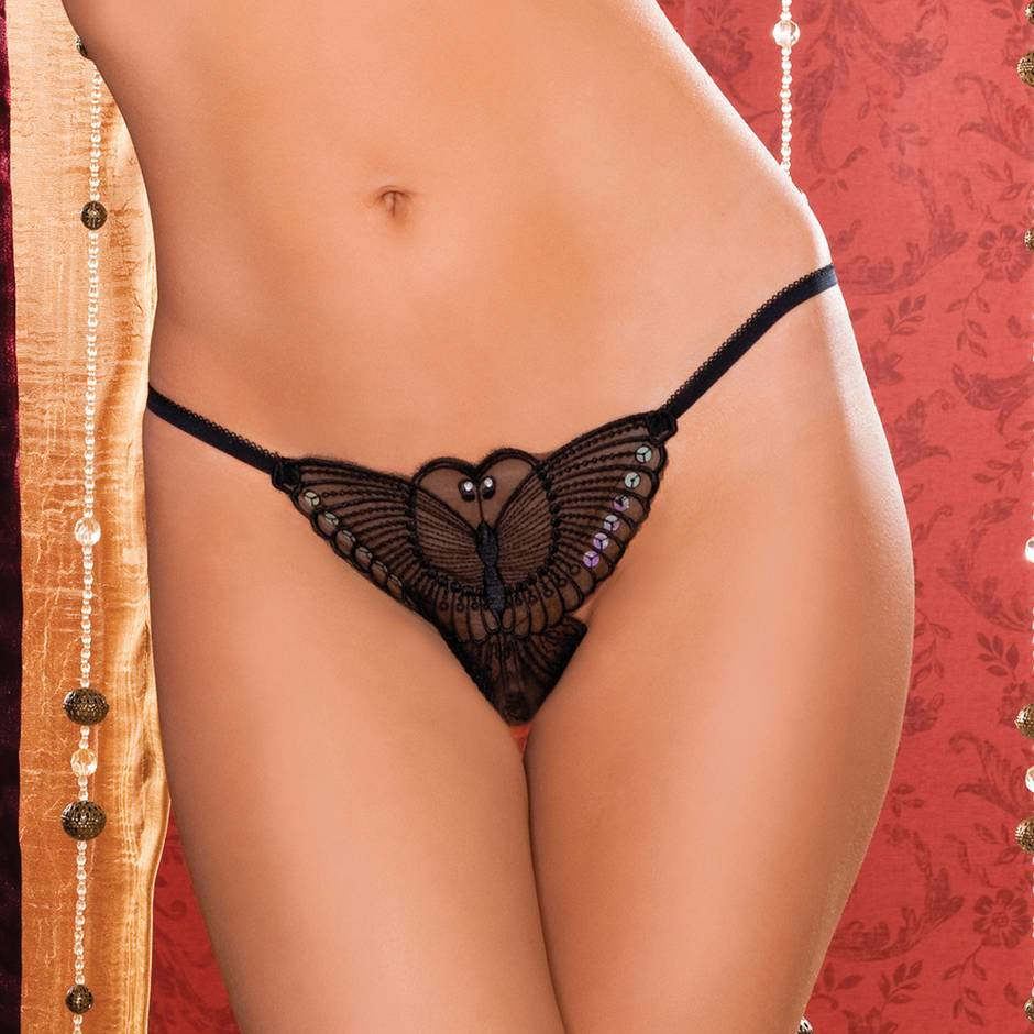 Seven Til Midnight Butterfly Crotchless Thong