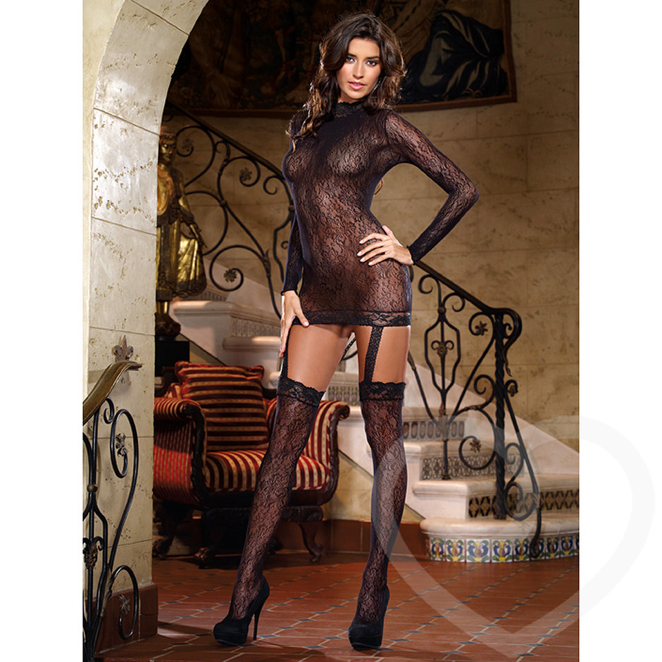 Dreamgirl Sorento Lace Garter and Stockings Dress
