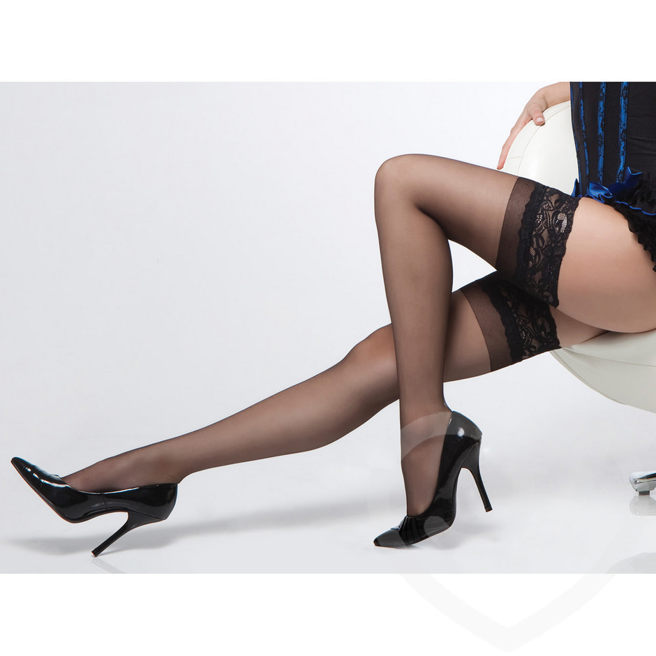 Coquette Hold Up Stockings with Lace Tops