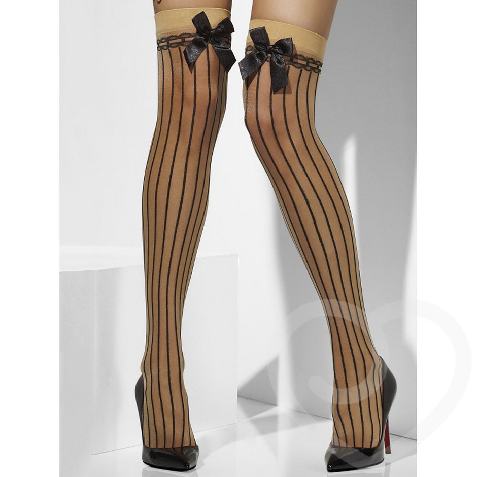 Sheer Desires Striped Thigh High Stockings with Bow Detailing