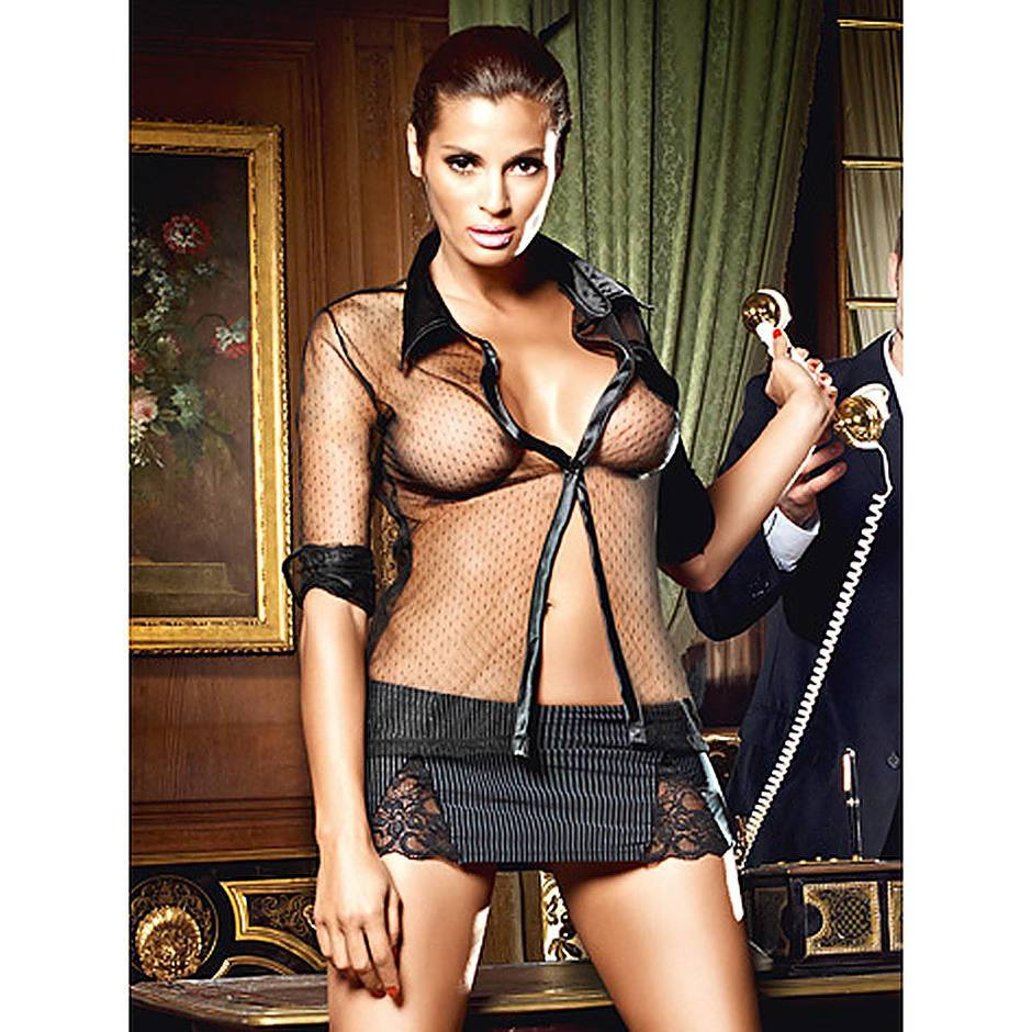 Baci Lingerie Sexy Secretary Blouse and Mini Skirt Set