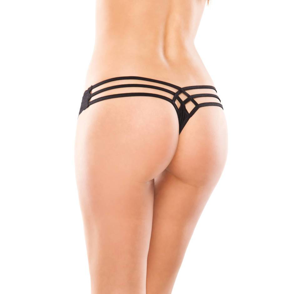 Coquette Lace and Lycra Thong with Cage Back Detail