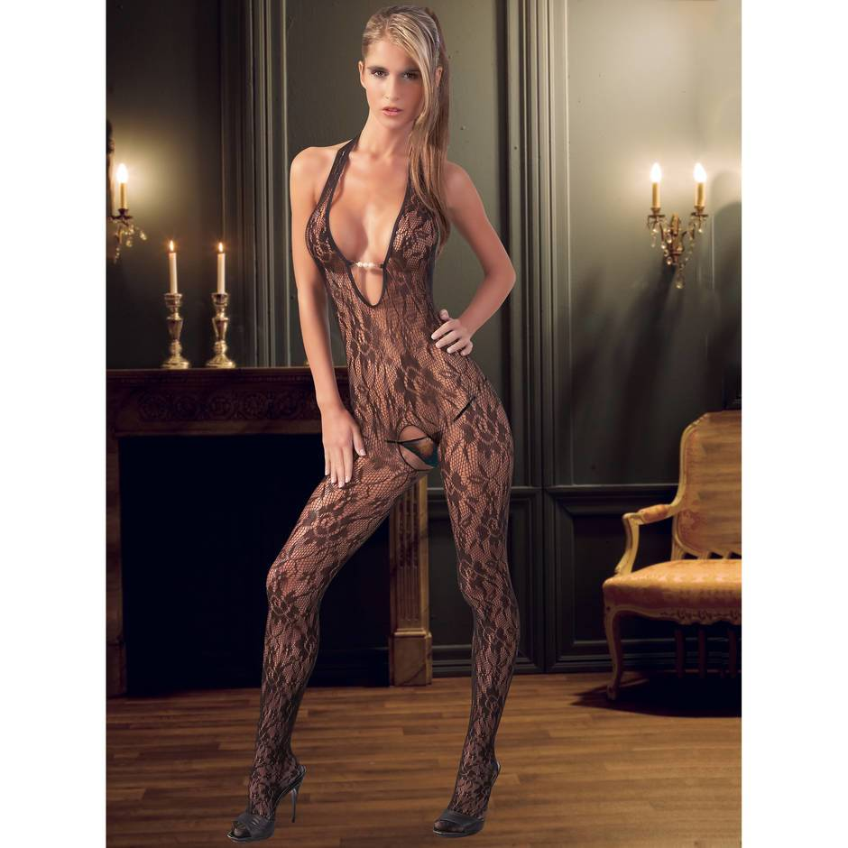Mandy Mystery Floral Lace Open Crotch Bodystocking