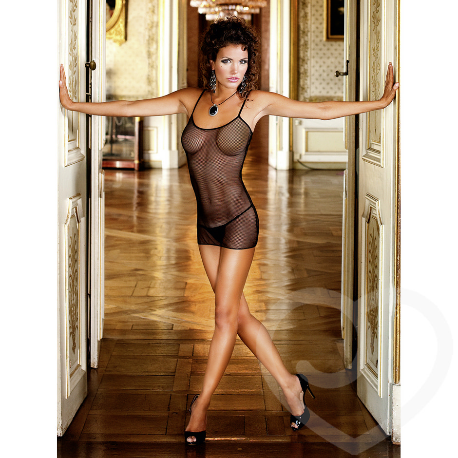 Baci Lingerie See Through Fishnet Mini Dress