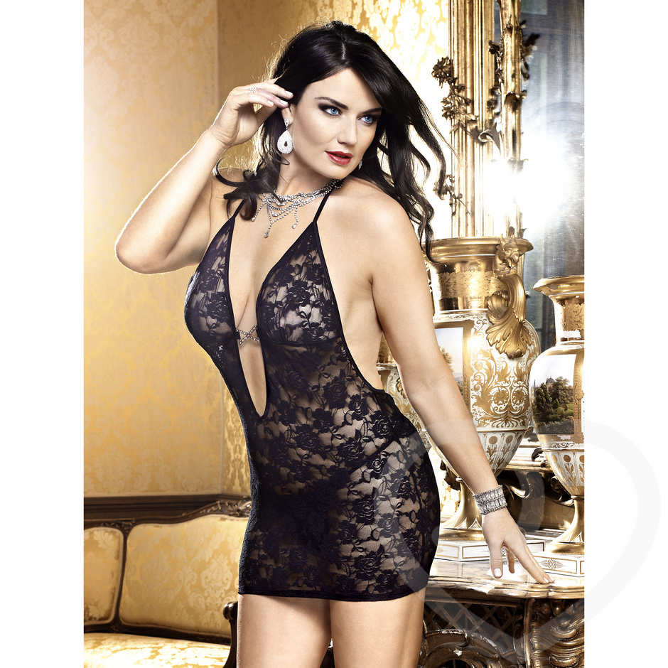 Baci Lingerie Plus Size Deep Plunging Sheer Lace Dress