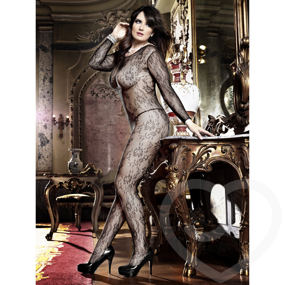 Baci Lingerie Plus Size Sheer Flower Lace Bodystocking