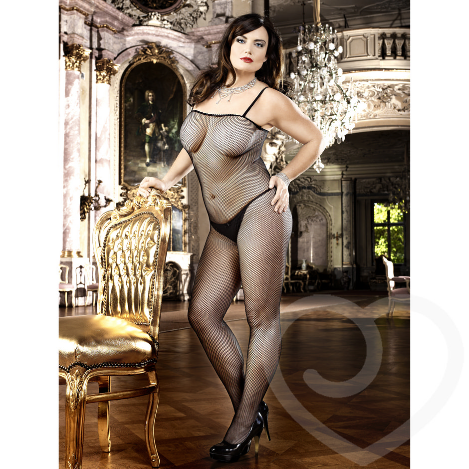 Baci Lingerie Plus Size Fishnet Crotchless Bodystocking