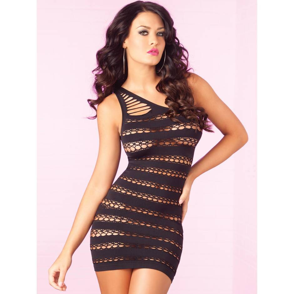 Pink Lipstick Sizzle Mini Dress with Cut Out Stripes