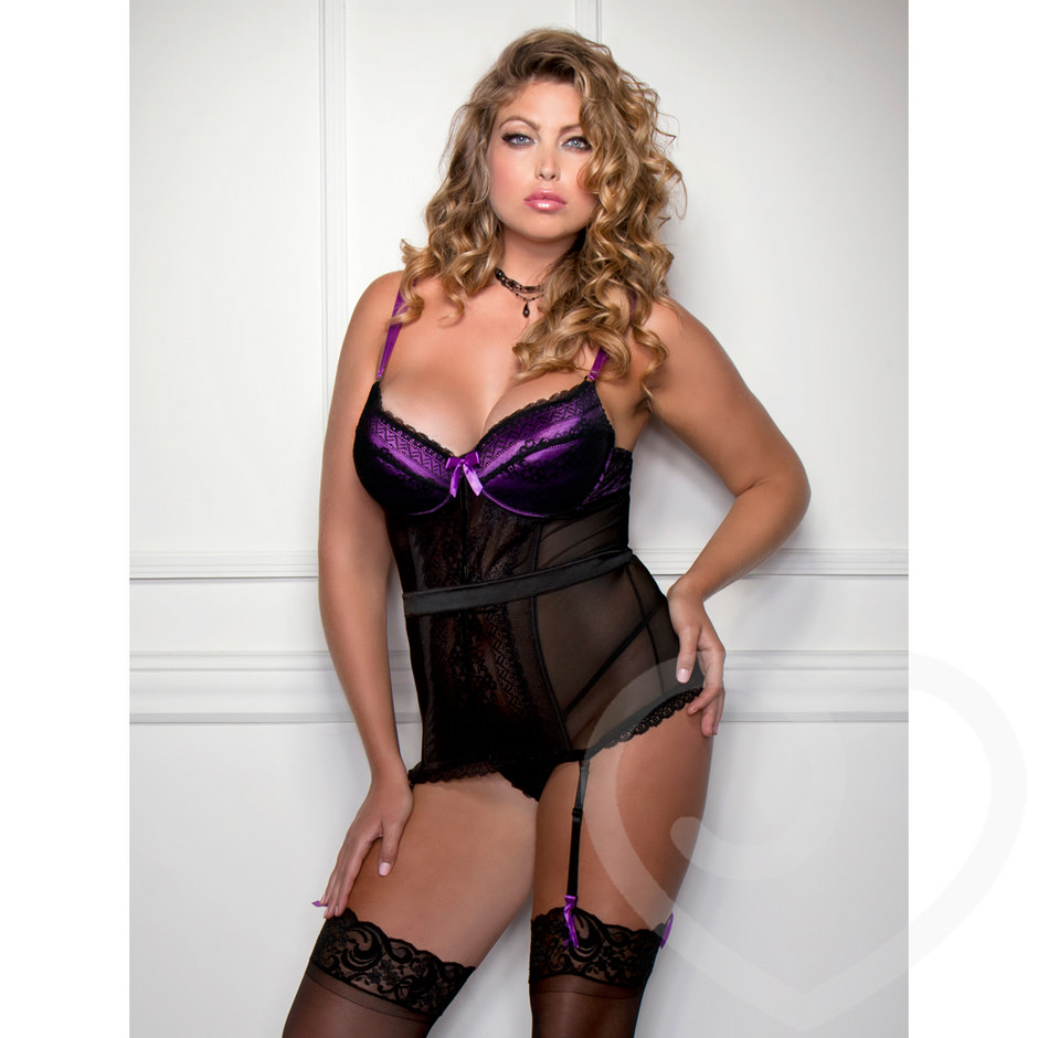 iCollection Plus Size Sheer Lace Overlay Bustier Set