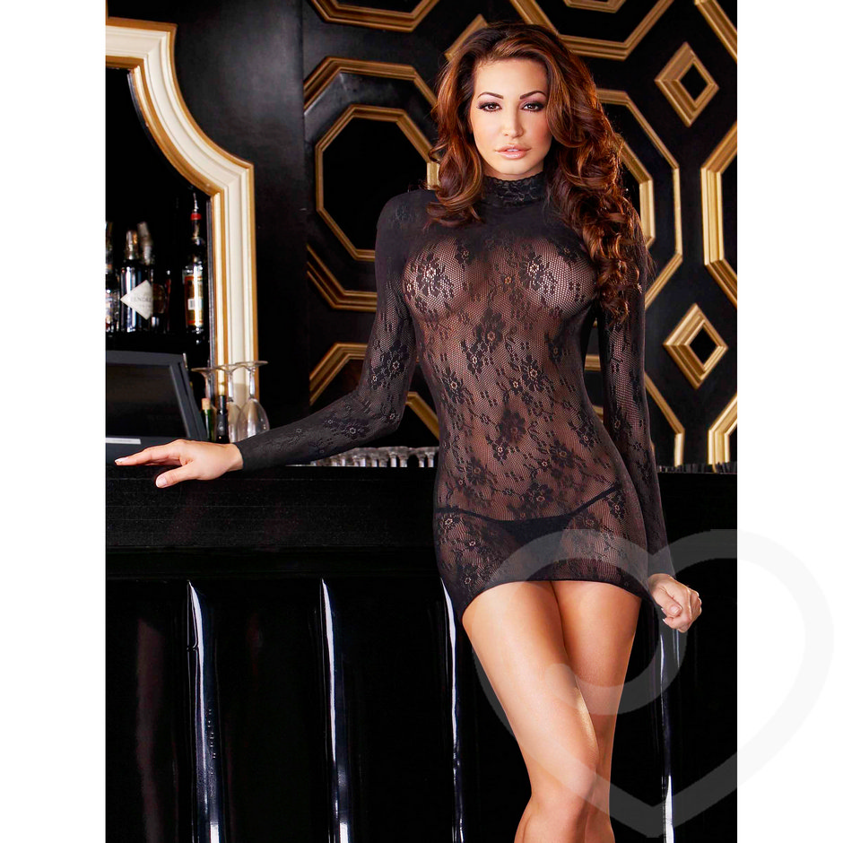 Electric Long Sleeved Lace Mini Dress