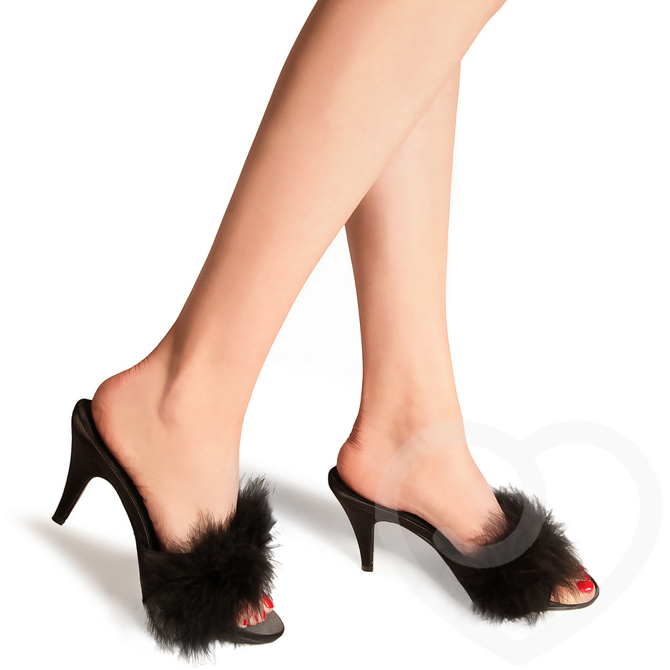 Pleaser Amour Classic Sex Kitten Heels with Marabou Trim