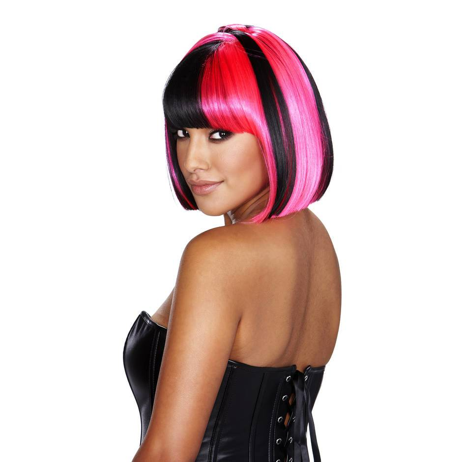 Black Hot Pink Wigs 40