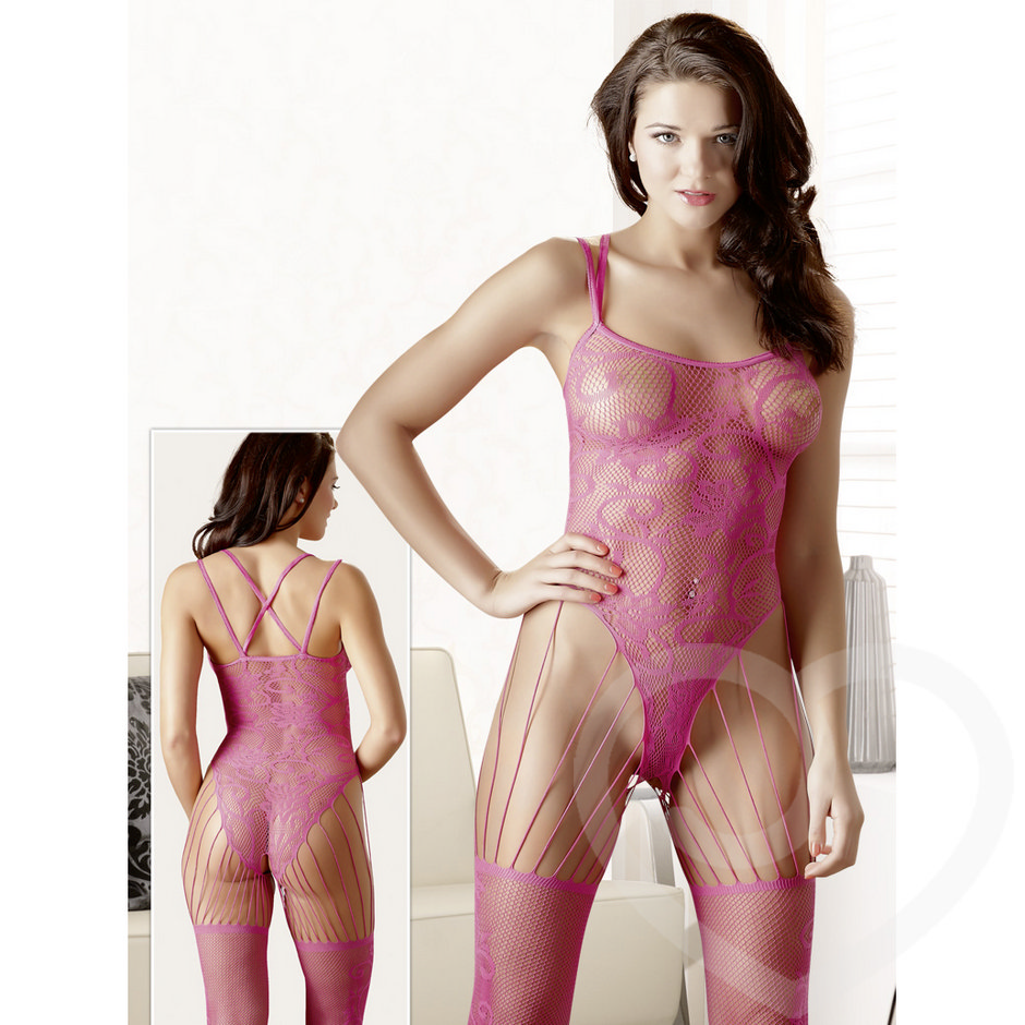 Mandy Mystery Strappy Fishnet Lace Bodystocking
