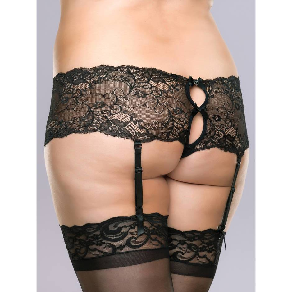 Lovehoney Plus Size Love Me Lace Crotchless Boyshort with Suspenders Black
