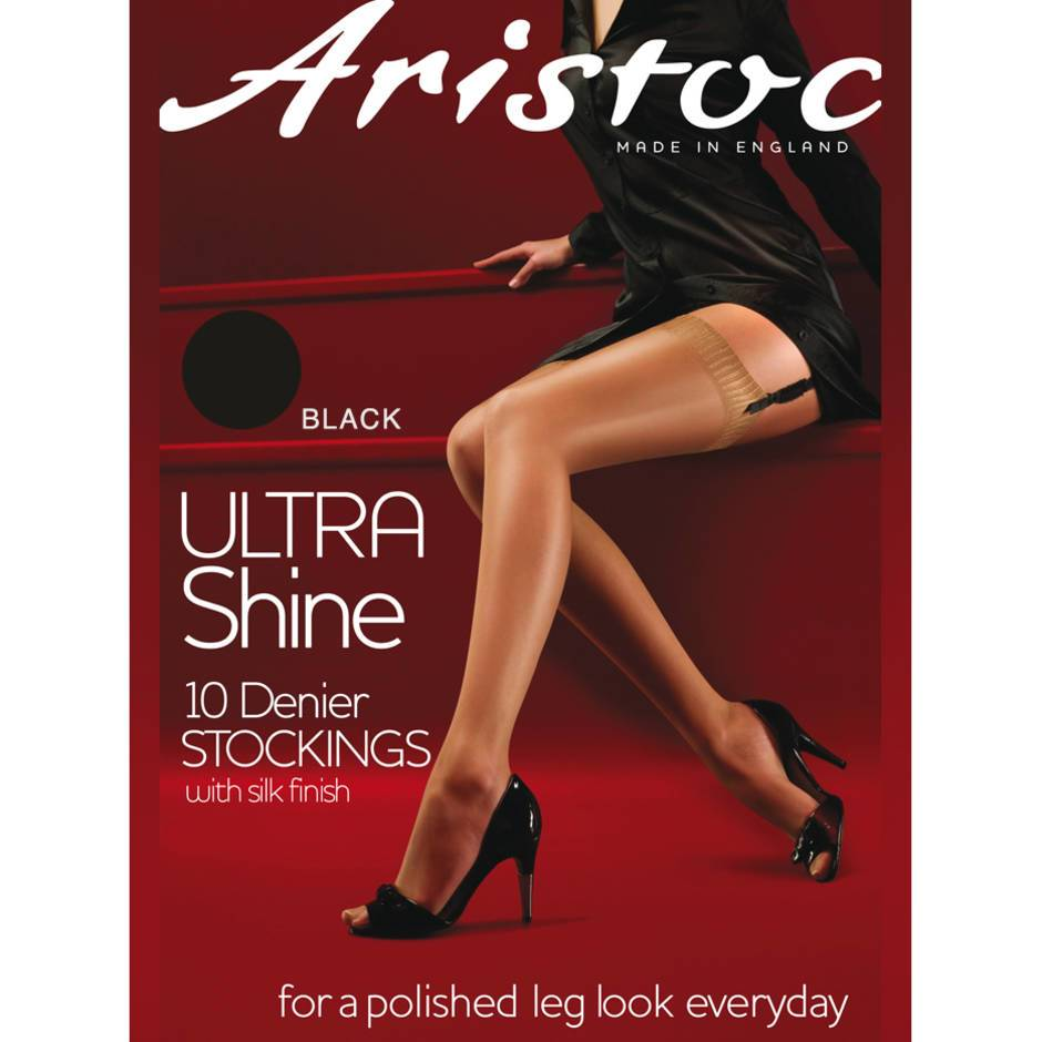Aristoc Ultra Shine 10 Denier Black Stockings